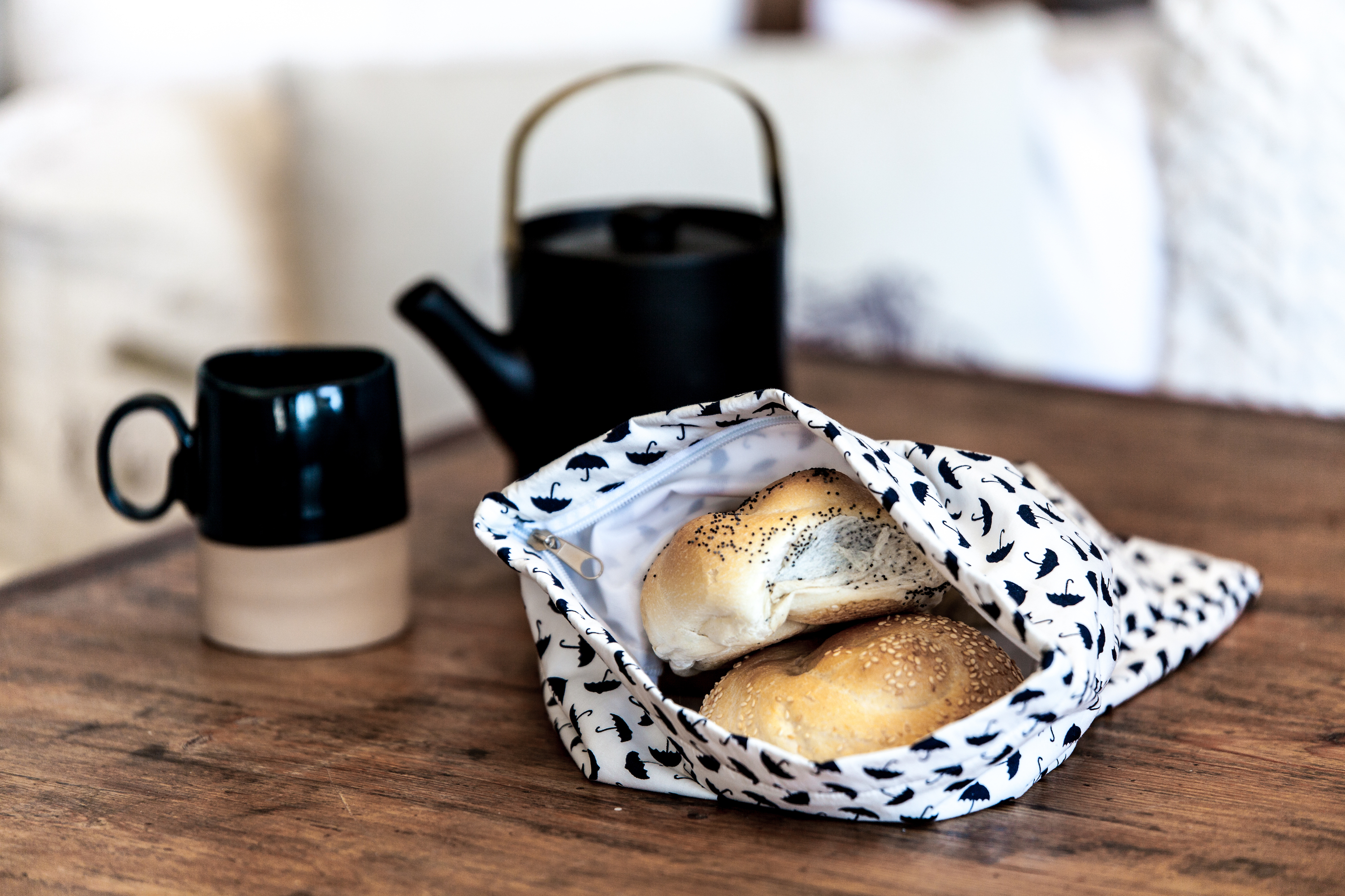 Nowhere & Everywhere Zero Waste Kits Recycled Cotton Zip Lining Produce Bag Large Bread Bag Kitchen Plastic Free Products