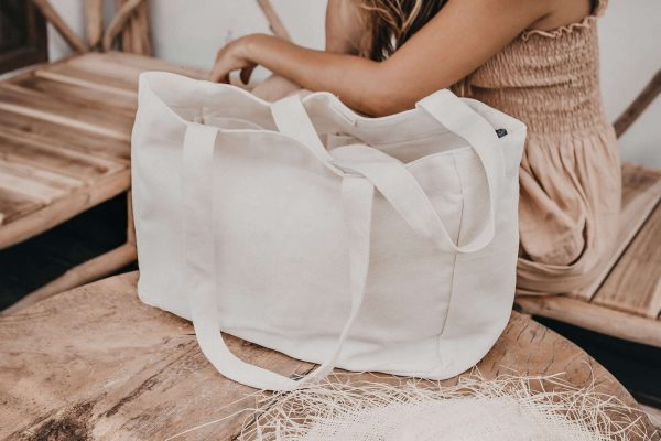 Nowhere & Everywhere 100% Hemp Canvas Market Shopping Bag Pockets Bulk Store Jars Bottles Containers Conscious Consumer Embroidered Hand lettered Internal Pockets