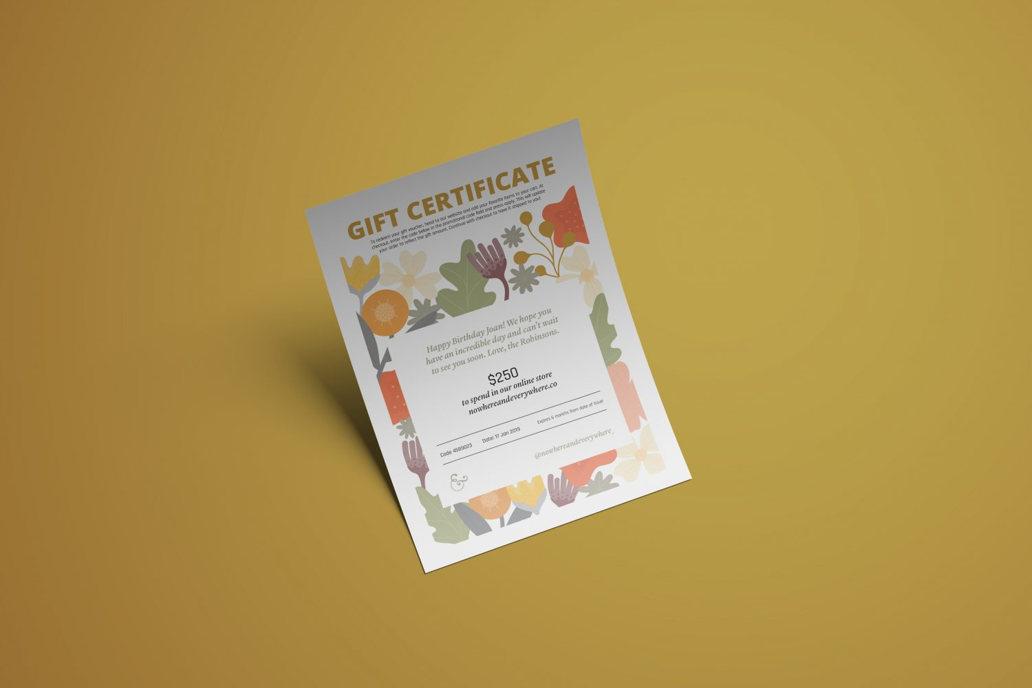 Nowhere & Everywhere Zero Waste Low Waste Gift Certificate Voucher Card