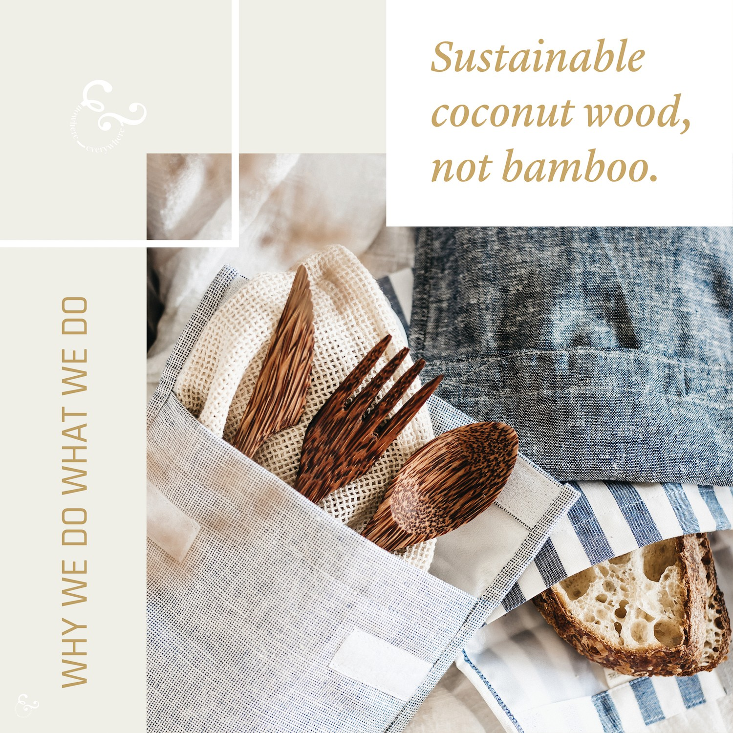 Sustainable coconut wood cutlery not bamboo - - Nowhere & Everywhere Ethical Sustainable Goods Products Australia UK USA New Zealand Canada The Netherlands Lisande Lis Dingjan