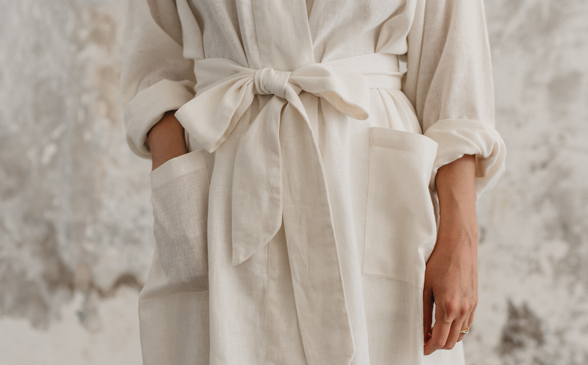 Nowhere & Everywhere Zero Waste Shop Australia UK New Zealand Canada US Recycled Recovered Linen Bathrobe Plastic Free