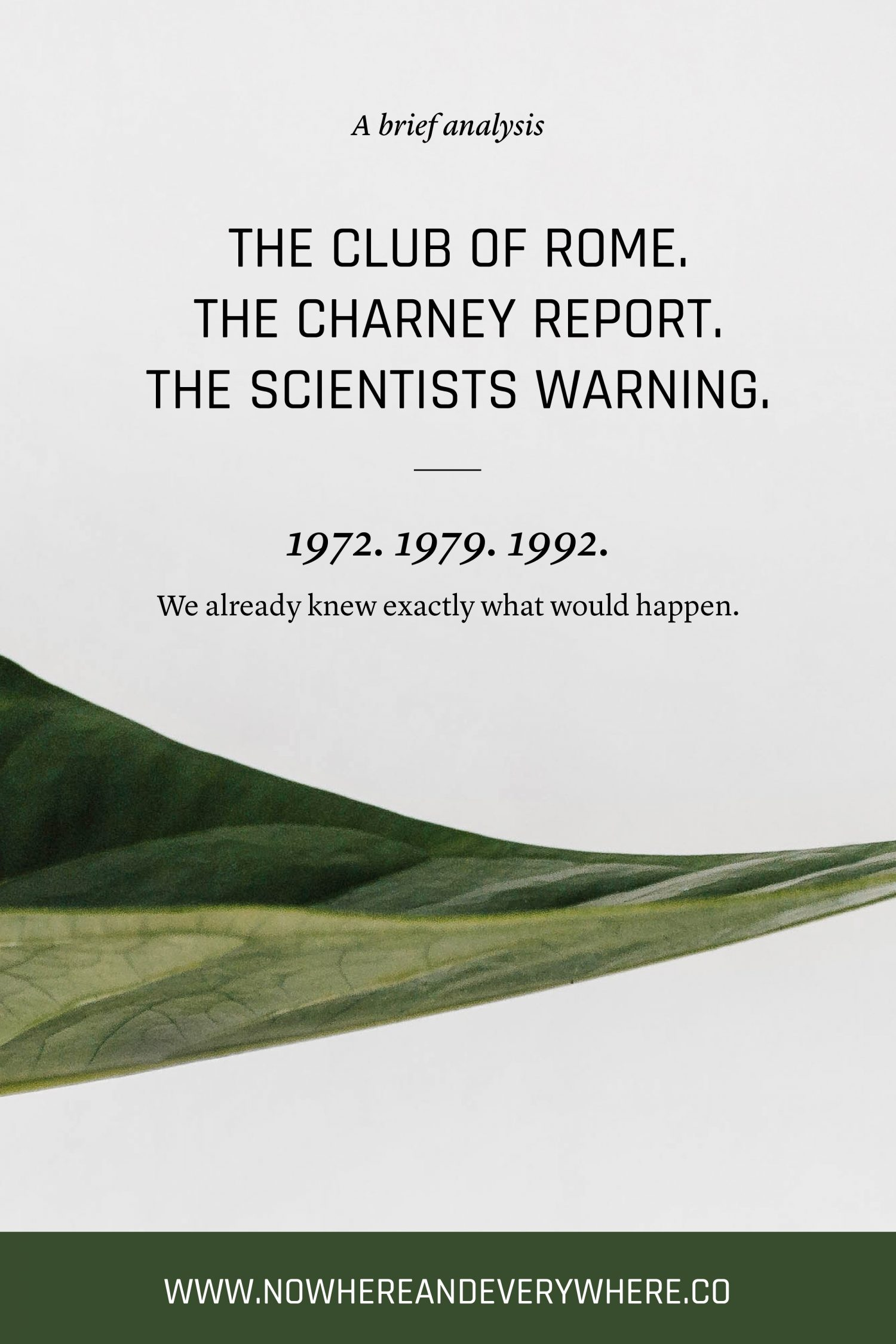 The Club of Rome Report in the 21st century Nowhere & Everywhere Sustainable Travel
